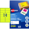 AVERY FLOURO LASER LABELS 14 L/P/Sht Fluoro Yellow PK350