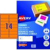 AVERY FLOURO LASER LABELS 14 L/P/Sht Fluoro Orange PK350