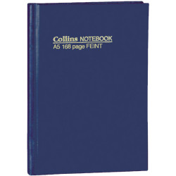 COLLINS HARD COVER NOTEBOOKS A5 Feint 168 Pg